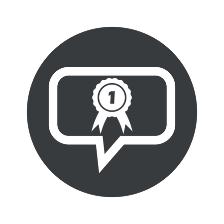 corroboration: Image of first place award in chat bubble, in black circle, isolated on white Illustration