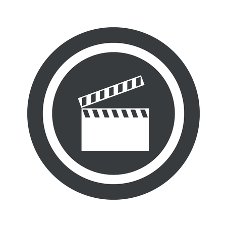 cinematograph: Image of clapperboard in circle, on black circle, isolated on white