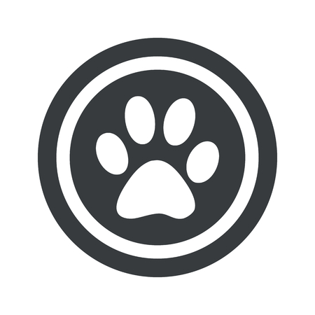 track pad: Image of paw print in circle, on black circle, isolated on white Illustration