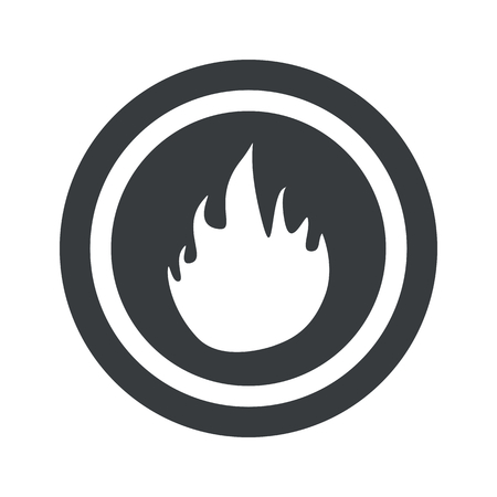 conflagration: Image of flame in circle, on black circle, isolated on white