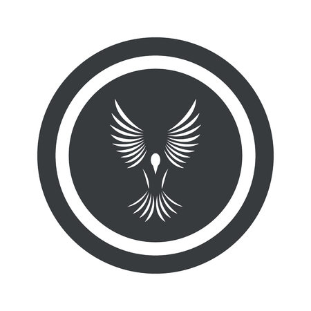 span: Image of flying bird in circle, on black circle, isolated on white