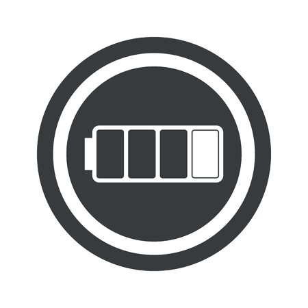 low battery: Image of low battery in circle, on black circle, isolated on white Illustration