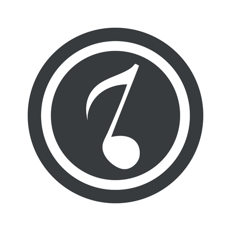record shop: Image of eighth note in circle, on black circle, isolated on white
