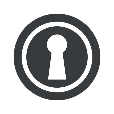 Image of keyhole in circle, on black circle, isolated on white
