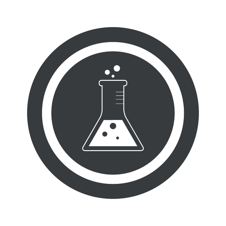 erlenmeyer: Image of conical flask in circle, on black circle, isolated on white