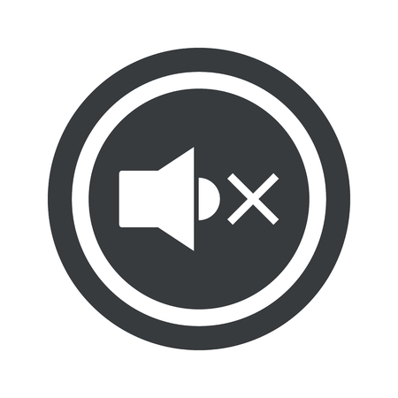 muted: Image of muted loudspeaker in circle, on black circle, isolated on white Illustration