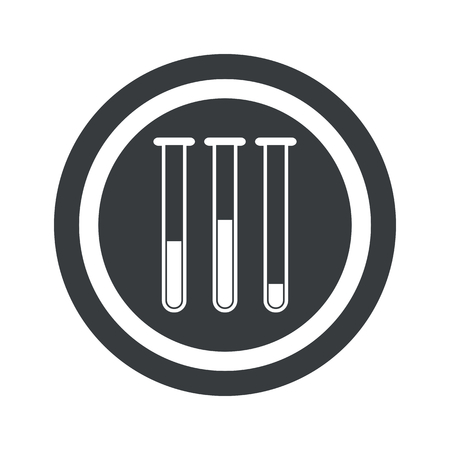 reagents: Image of three test-tubes in circle, on black circle, isolated on white Illustration