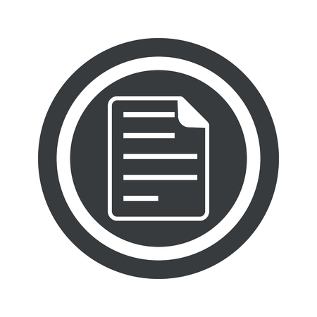 article writing: Image of document page in circle, on black circle, isolated on white