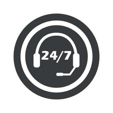 白で隔離本文 24 あたり 7 円、黒い円のヘッドセット