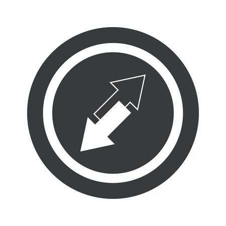 trajectoire: Image de deux fl�ches oppos�es inclin� dans le cercle, le cercle noir, isol� sur blanc Illustration