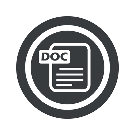ms: Document page with text DOC in circle, on black circle, isolated on white