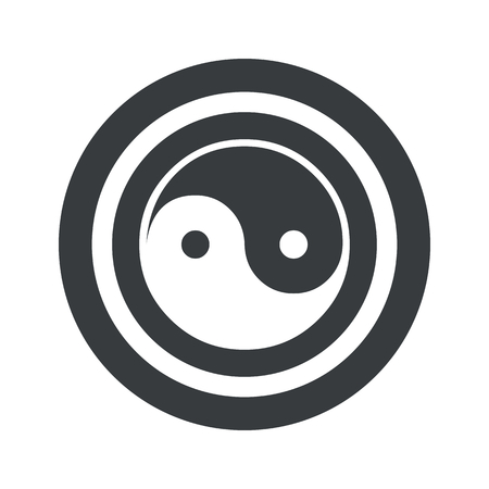 Image of ying yang symbol in circle, on black circle, isolated on white