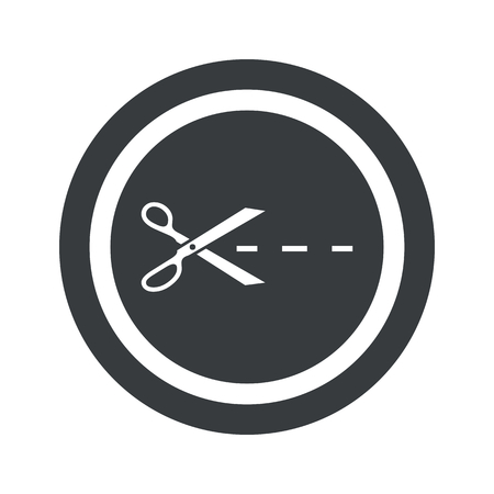 slit: Scissors cutting along the line in circle, on black circle, isolated on white