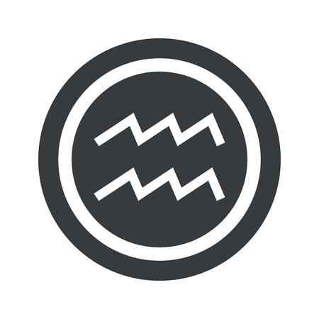 Image of Aquarius zodiac symbol in circle, on black circle, isolated on white