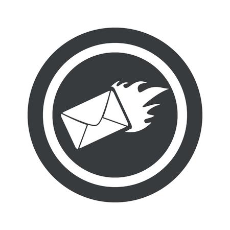 meaningful: Image of burning envelope in circle, on black circle, isolated on white