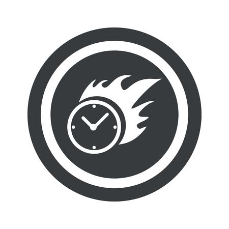 bounds: Image of burning clock in circle, on black circle, isolated on white Illustration