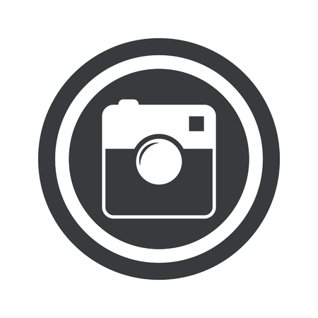microblog: Image of square camera in circle, on black circle, isolated on white