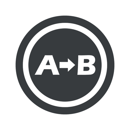 derivation: Letters A, B and arrow in circle, on black circle, isolated on white Illustration