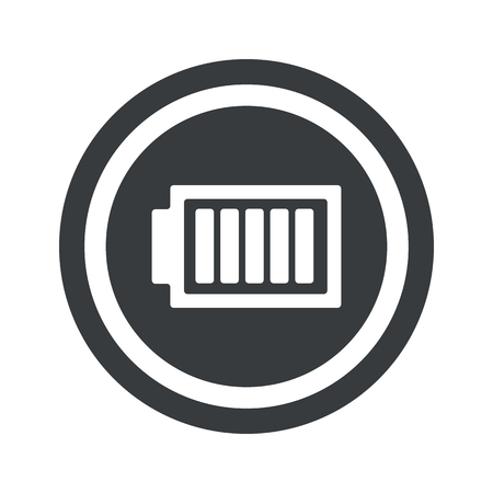 Image de la batterie complètement chargée dans le cercle, le cercle noir, isolé sur blanc Vecteurs