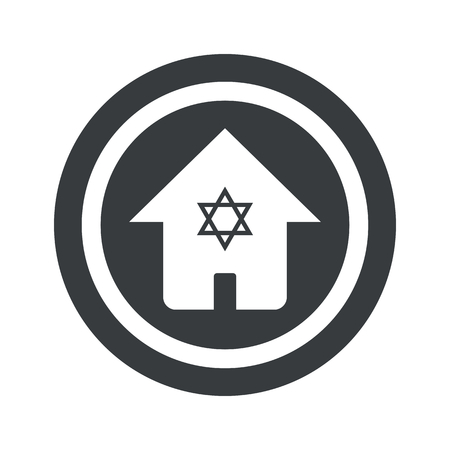 israel jerusalem: House with Star of David in circle, on black circle, isolated on white Illustration