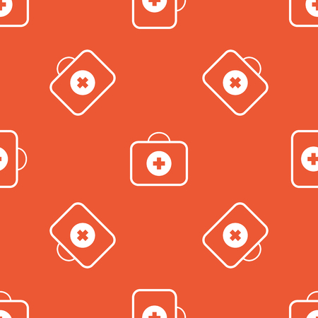firstaid: Image of first aid kit, repeated on orange background