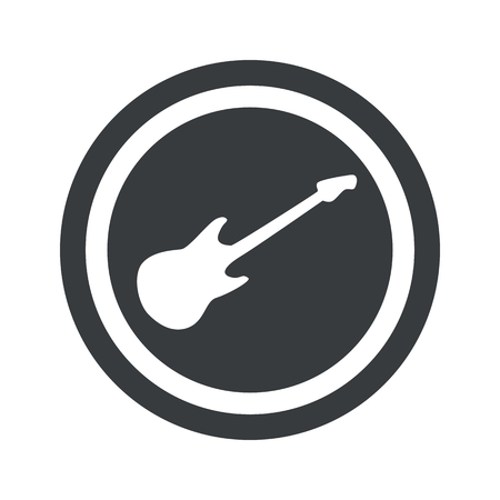 lead guitar: Image of electric guitar in circle, on black circle, isolated on white Illustration