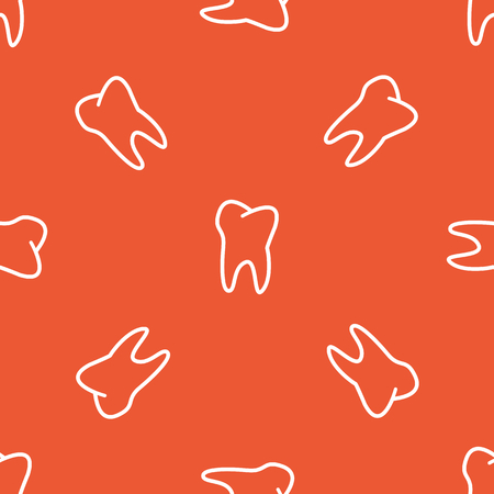 repeated: Image of tooth, repeated on orange background