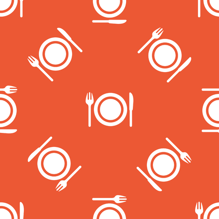 repeated: Image of fork, knife and plate, repeated on orange background Illustration