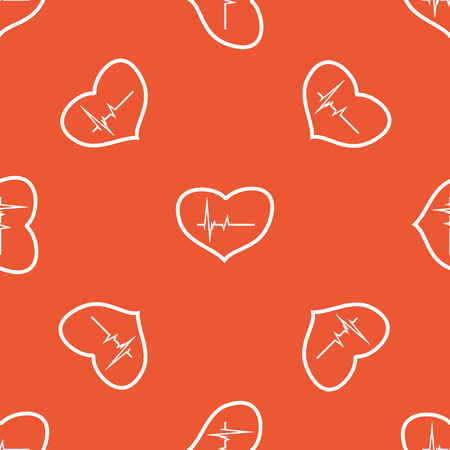 the contour: Cardiogram in heart contour, repeated on orange background Illustration