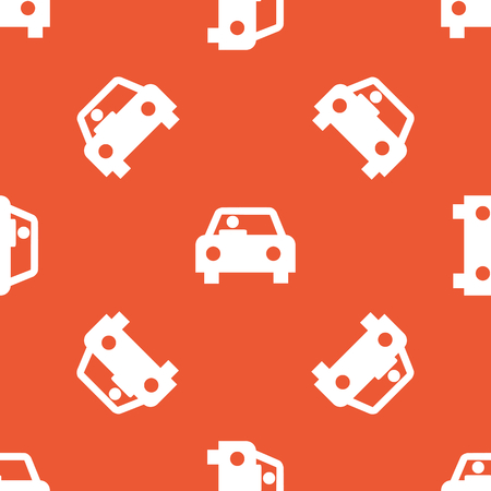 repeated: Image of car with driver, repeated on orange background