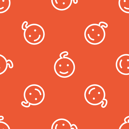 repeated: Image of smiling child face, repeated on orange background