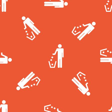 garbage man: Image of man throwing garbage, repeated on orange background Illustration