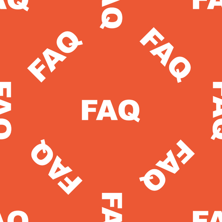 repeated: White text FAQ, repeated on orange background