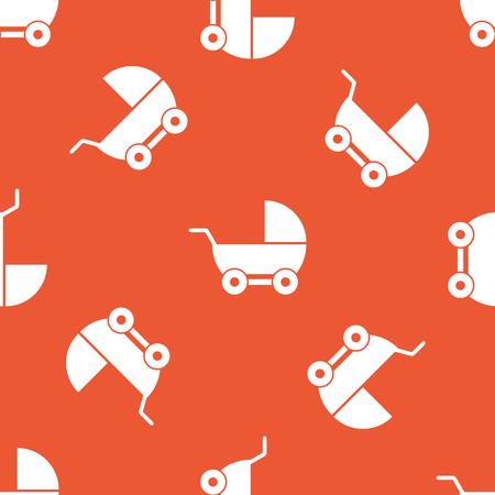 perambulator: Immagine di carrozzina, ripetute su sfondo arancione
