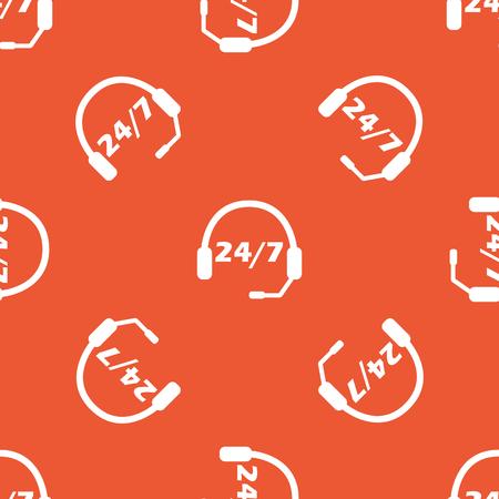 オレンジ色の背景で繰り返されるテキスト 24 7、あたりにヘッドセットをイメージ