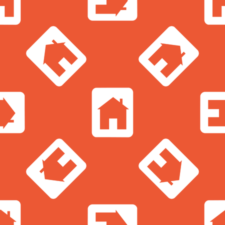 housetop: Plate with house image, repeated on orange background Illustration
