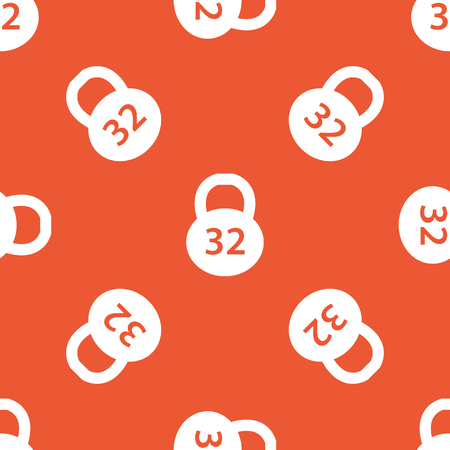32: Image of 32 kg dumbbell, repeated on orange background
