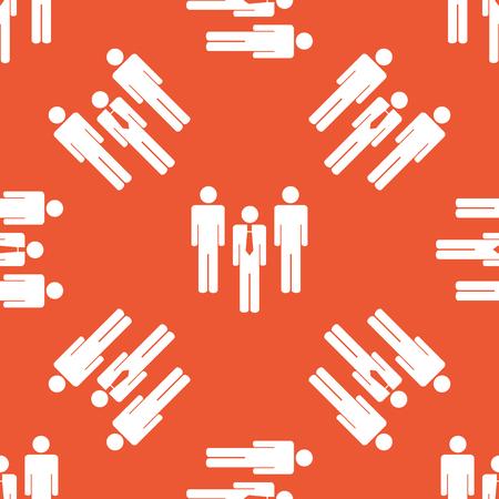 mensen groep: Afbeelding van drie mensen groep, herhaalde op oranje achtergrond