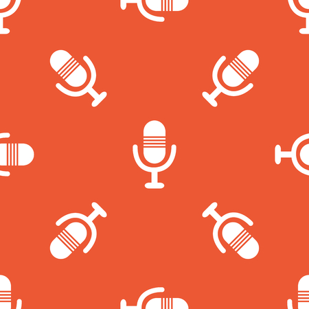repeated: Image of microphone, repeated on orange background Illustration