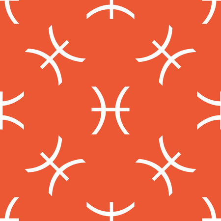 ecliptic: Image of Pisces zodiac symbol, repeated on orange background Illustration