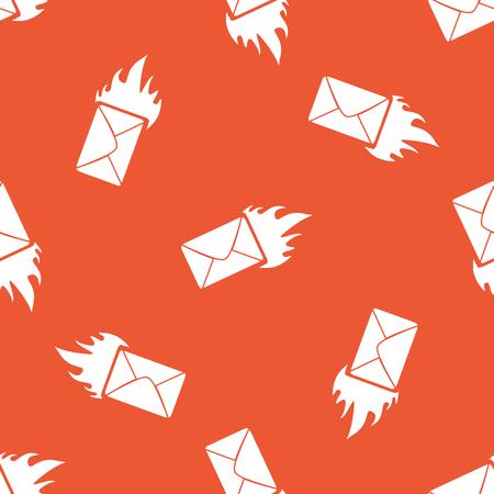 meaningful: Image of burning envelope, repeated on orange background
