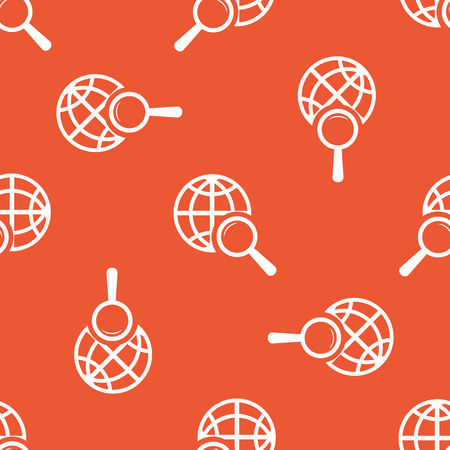 repeated: Image of globe under loupe, repeated on orange background