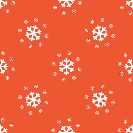 repeated: Image of several snowflakes, repeated on orange background