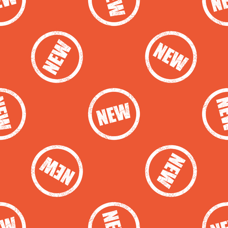 newness: Image of grunge NEW sign, repeated on orange background