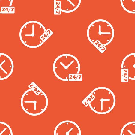 オレンジ色の背景で繰り返されるテキスト 24 あたり 7、時計のイメージ