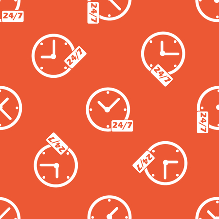 overnight: Image of clock with text 24 per 7, repeated on orange background