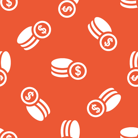 Rouleau of dollar coins, repeated on orange background