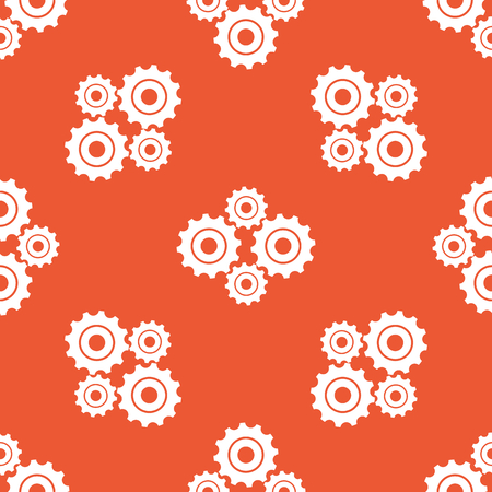 repeated: Image of four cogs, repeated on orange background
