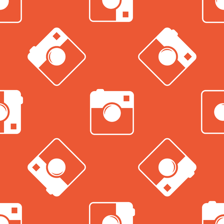 repeated: Image of square camera, repeated on orange background