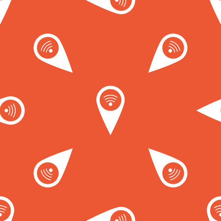 repeated: Map marker with Wi-Fi symbol, repeated on orange background Illustration
